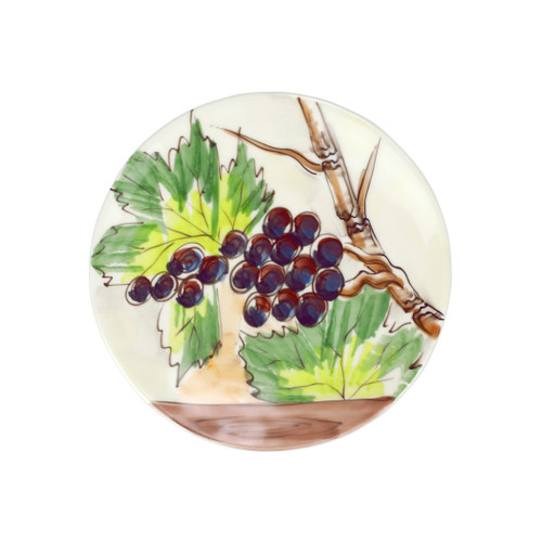 """Vietri Cantina Salad Plate  CNT-7801 9""""D  The harvesting of grapes to make wine, a long sought after tradition in Italy, is beautifully reflected in the handpainted scenes of Cantina from plumpuddingkitchen.com. Handpainted on terra bianca in Tuscany. Dishwasher safe."""