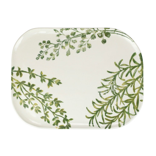 """Vietri Fauna Flora Medium Rectangular Platter  FAU-9727F 15.75""""L, 11.75""""W  The work of maestro artisan, Gianluca Fabbro, is often recognized by a bold array of colors coupled with an innate attention to detail through his handpainted sponging technique. Fauna from plumpuddingkitchen.com combines the outline of the classic hunting bird paired with nature's greenery to depict what is commonly found during the hunt (la caccia) in Umbria, the Italian land known for capturing wild pheasants. Dishwasher and microwave safe."""