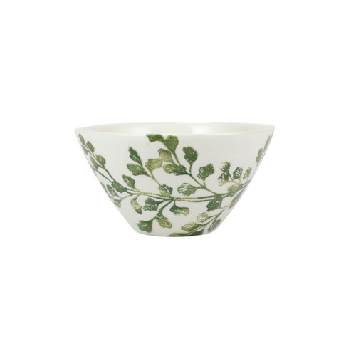 """Vietri Fauna Flora Fern Cereal Bowl  FAU-9705F-B 6.5""""D, 3.5""""H  The work of maestro artisan, Gianluca Fabbro, is often recognized by a bold array of colors coupled with an innate attention to detail through his handpainted sponging technique. Fauna from plumpuddingkitchen.com combines the outline of the classic hunting bird paired with nature's greenery to depict what is commonly found during the hunt (la caccia) in Umbria, the Italian land known for capturing wild pheasants. Dishwasher and microwave safe."""