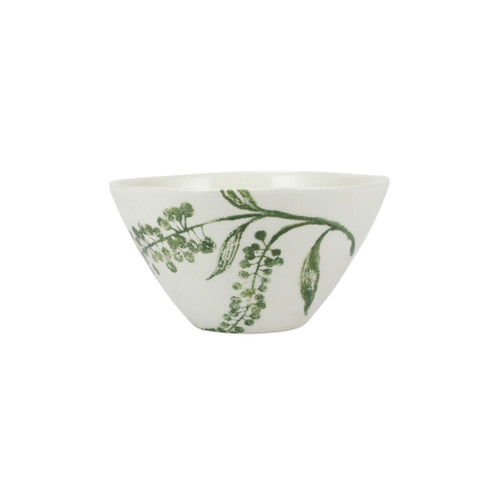 """Vietri Fauna Flora Dragonberries Cereal Bowl  FAU-9705F-A 6.5""""D, 3.5""""H  The work of maestro artisan, Gianluca Fabbro, is often recognized by a bold array of colors coupled with an innate attention to detail through his handpainted sponging technique. Fauna from plumpuddingkitchen.com combines the outline of the classic hunting bird paired with nature's greenery to depict what is commonly found during the hunt (la caccia) in Umbria, the Italian land known for capturing wild pheasants. Dishwasher and microwave safe."""