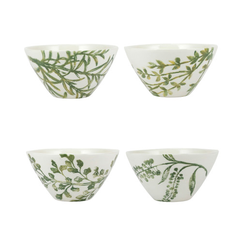 """Vietri Fauna Flora Assorted Cereal Bowls Set/4  FAU-9705F 6.5""""D, 3.5""""H  Includes Tasso, Myrtle, Tasso and Dragonberries  The work of maestro artisan, Gianluca Fabbro, is often recognized by a bold array of colors coupled with an innate attention to detail through his handpainted sponging technique. Fauna from plumpuddingkitchen.com combines the outline of the classic hunting bird paired with nature's greenery to depict what is commonly found during the hunt (la caccia) in Umbria, the Italian land known for capturing wild pheasants. Dishwasher and microwave safe."""