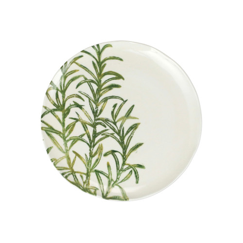 """Vietri Fauna Flora Tasso Salad Plate  FAU-9701F-D 9""""D  The work of maestro artisan, Gianluca Fabbro, is often recognized by a bold array of colors coupled with an innate attention to detail through his handpainted sponging technique. Fauna from plumpuddingkitchen.com combines the outline of the classic hunting bird paired with nature's greenery to depict what is commonly found during the hunt (la caccia) in Umbria, the Italian land known for capturing wild pheasants. Dishwasher and microwave safe."""