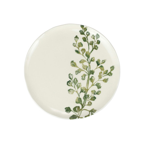 """Vietri Fauna Flora Fern Salad Plate  FAU-9701F-B 9""""D  The work of maestro artisan, Gianluca Fabbro, is often recognized by a bold array of colors coupled with an innate attention to detail through his handpainted sponging technique. Fauna from plumpuddingkitchen.com combines the outline of the classic hunting bird paired with nature's greenery to depict what is commonly found during the hunt (la caccia) in Umbria, the Italian land known for capturing wild pheasants. Dishwasher and microwave safe."""