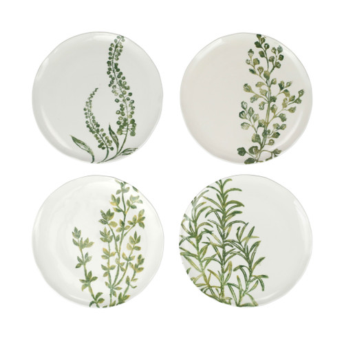 """Vietri Fauna Flora Assorted Salad Plates Set/4  FAU-9701F 9""""D  The work of maestro artisan, Gianluca Fabbro, is often recognized by a bold array of colors coupled with an innate attention to detail through his handpainted sponging technique. Fauna from plumpuddingkitchen.com combines the outline of the classic hunting bird paired with nature's greenery to depict what is commonly found during the hunt (la caccia) in Umbria, the Italian land known for capturing wild pheasants. Dishwasher and microwave safe."""