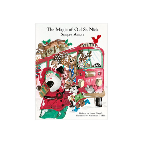 """Vietri Old St Nick: Sempre Amore Children's Book  OSN-37004 9""""W, 10.5""""H  What could be more whimsical than the individual portraits of Vietri's Old St. Nick, beloved by all Italians!     Each Santa from plumpuddingkitchen.com is created for Vietri from maestro Alessandro Taddei's childhood memories of stories his mother read to him. Made of terra bianca, each portrait is painted directly on the fired surface in Tuscany so that each stroke is seen in detail."""