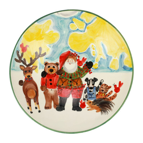 """Vietri Old St Nick Amici per Sempre (Friends Forever) Bowl  OSN-2628 16.5""""D, 3.5""""H  What could be more whimsical than the individual portraits of Vietri's Old St. Nick, beloved by all Italians!    Each Santa from plumpuddingkitchen.com is created for Vietri from maestro Alessandro Taddei's childhood memories of stories his mother read to him. Made of terra bianca, each portrait is painted directly on the fired surface in Tuscany so that each stroke is seen in detail."""