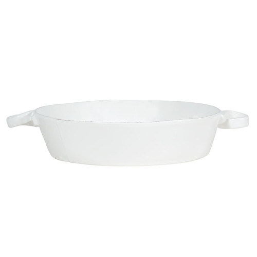 "The Lastra White Handled Round Baker is an irresistibly elegant piece in which to bake. An overlapping wooden mold, used for centuries to form cheeses throughout Italy, inspired this collection. 11""D, 2.75""H LAS-2652W"