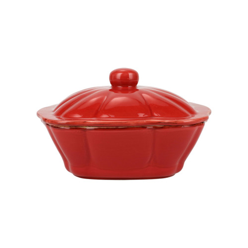 """Vietri Italian Bakers Red Square Covered Casserole Dish  ITB-R2958 10.25""""L, 9""""W, 2.25 Qt  Featuring scalloped edges and a fun holiday hue, the Italian Bakers Red Square Covered Casserole Dish from plumpuddingkitchen.com is handcrafted of Italian stoneware in Umbria.  This unique size and fun shape is perfect for holiday gatherings and family get-togethers. 