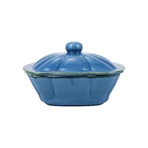 """Vietri Italian Bakers Blue Square Covered Casserole Dish  ITB-B2958 10.25""""L, 9""""W, 2.25 Qt  Featuring scalloped edges and a fun holiday hue, the Italian Bakers Blue Square Covered Casserole Dish from plumpuddingkitchen.com is handcrafted of Italian stoneware in Umbria.  This unique size and fun shape is perfect for holiday gatherings and family get-togethers. 