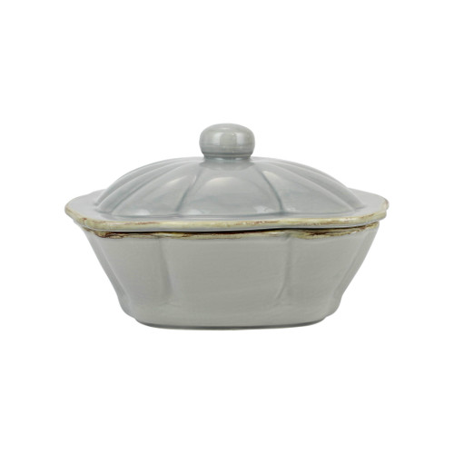 """Vietri Italian Bakers Gray Square Covered Casserole Dish  ITB-GR2958 10.25""""L, 9""""W, 2.25 Qt  Featuring scalloped edges and a fun neutral hue, the Italian Bakers Gray Square Covered Casserole Dish from plumpuddingkitchen.com is handcrafted of Italian stoneware in Umbria.  This unique size and fun shape is perfect for holiday gatherings and family get-togethers. 