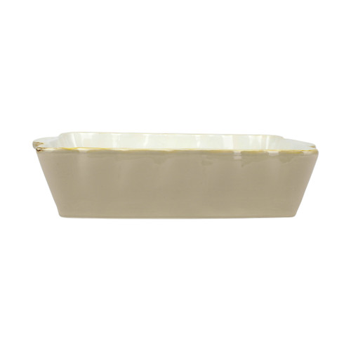 """Vietri Italian Bakers Cappuccino Large Rectangular Baker  ITB-CP2953 15.25""""L, 9.75""""W, 4.5 Qt  Featuring scalloped edges and a fun neutral hue, the Italian Bakers Cappuccino Large Rectangular Baker from plumpuddingkitchen.com is handcrafted of Italian stoneware in Umbria.  This unique size and fun shape is perfect for holiday gatherings and family get-togethers. 