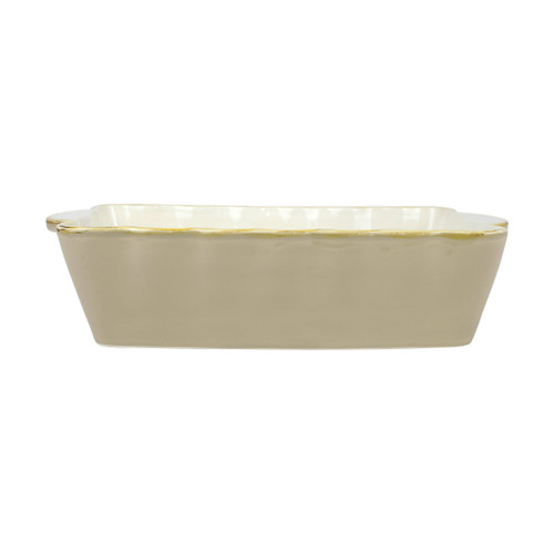 """Vietri Italian Bakers Cappuccino Small Rectangular Baker  ITB-CP2954 .75""""L, 5.75""""W, 1 Qt  Featuring scalloped edges and a fun neutral hue, the Italian Bakers Cappuccino Small Rectangular Baker from plumpuddingkitchen.com is handcrafted of Italian stoneware in Umbria.  This unique size and fun shape is perfect for holiday gatherings and family get-togethers. 