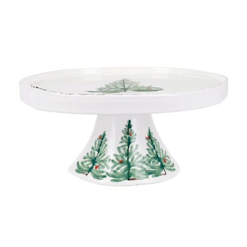 """Vietri Lastra Holiday Large Cake Stand  LAH-2673 11.25""""D, 5.25""""H     Make time for your loved ones this season when you gather around the cheerful design of Vietri's Lastra Holiday from plumpuddingkitchen.com.  Handcrafted of Italian stoneware in Tuscany.  Dishwasher, microwave, freezer and oven safe."""