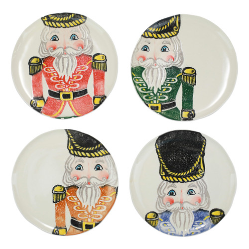 """Vietri Nutcrackers Assorted Dinner Plates Set/4  NTC-9700 11.5""""D  Maestro artisan, Gianluca Fabbro, recreates a Christmas classic with bright colors and a cheerful holiday design inspiring new family traditions with handpainted collectibles from plumpuddingkitchen.com.Handpainted on terra bianca in Veneto. Dishwasher and microwave safe."""