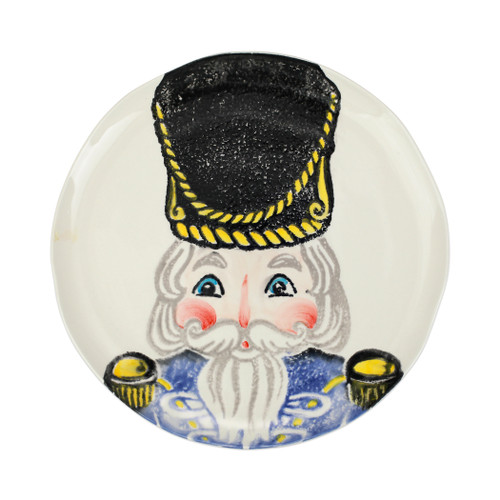 """Vietri Nutcrackers Blue Dinner Plate  NTC-9700C 11.5""""D  Maestro artisan, Gianluca Fabbro, recreates a Christmas classic with bright colors and a cheerful holiday design inspiring new family traditions with handpainted collectibles from plumpuddingkitchen.com.Handpainted on terra bianca in Veneto. Dishwasher and microwave safe."""