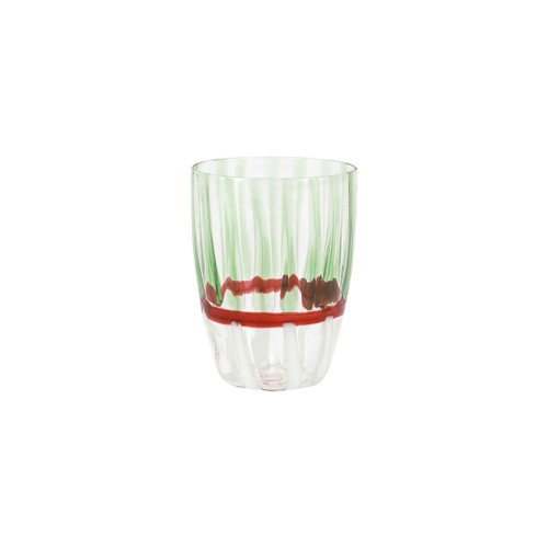 """Vietri Garland Tall Tumbler Glass  GRL-5438 4.5""""H, 12oz  Garlandcombines contemporary design with traditional style in a mouthblown barware assortment fit for festive and elegant gatherings or casual holiday brunches.  Mouthblown of borosilicate glass in Veneto.  Dishwasher, microwave, freezer and oven safe."""