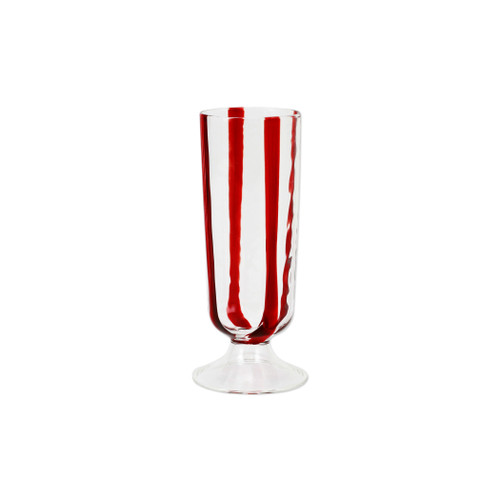 """Vietri Stripe Red Champagne Glass  STR-5450R 6.5""""H, 8oz  Dress up your daily glass of wine with the Stripe Red Champagne Glass from plumpuddingkitchen.com. Intricately mouthblown in Veneto, this beautiful collection brings a sophisticated, modern touch to your favorite barware assortment."""