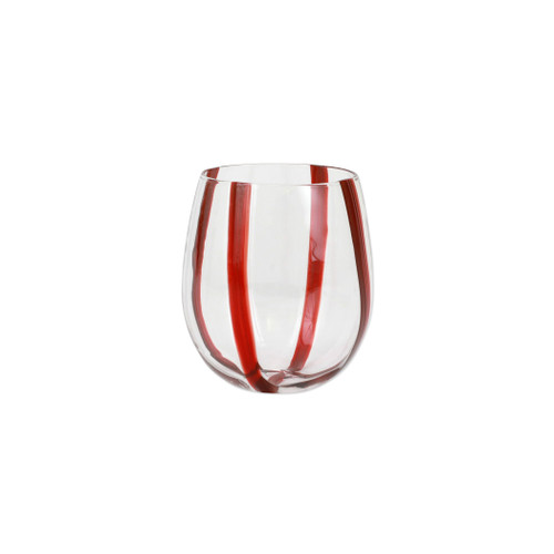 """Vietri Stripe Red Stemless Wine Glass  STR-5421R 4""""H, 10oz  Dress up your daily glass of wine with the Stripe Red Stemless Wine Glass from plumpuddingkitchen.com. Intricately mouthblown in Veneto, this beautiful collection brings a sophisticated, modern touch to your favorite barware assortment."""