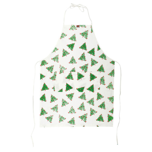 Vietri Siciliano Linens Holiday Tree Adult Apron  SCI-2196HT O/S  Vietri's Siciliano Linens are made of 100% cotton in Sicily using a serigraphy (silk screening) technique. Imperfections are to be expected and appreciated as they emphasize the artistic creation and dedication to making each piece unique due to the handcrafted process.  Machine wash cold, lay flat to dry. Warm iron if desired. Do not dry clean.