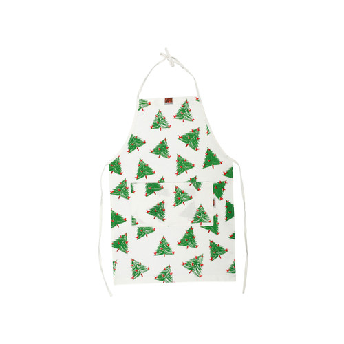 Vietri Siciliano Linens Holiday Tree Children's Apron  SCI-2195HT O/S  Vietri's Siciliano Linens are made of 100% cotton in Sicily using a serigraphy (silk screening) technique. Imperfections are to be expected and appreciated as they emphasize the artistic creation and dedication to making each piece unique due to the handcrafted process.  Machine wash cold, lay flat to dry. Warm iron if desired. Do not dry clean.