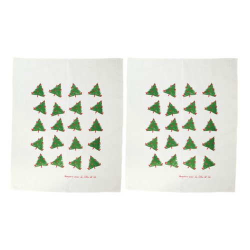 """Vietri Siciliano Linens Holiday Tree Dish Towels Set/2  SCI-2199HT 28""""L, 23""""W  Vietri's Siciliano Linens are made of 100% cotton in Sicily using a serigraphy (silk screening) technique. Imperfections are to be expected and appreciated as they emphasize the artistic creation and dedication to making each piece unique due to the handcrafted process.  Machine wash cold, lay flat to dry. Warm iron if desired. Do not dry clean."""