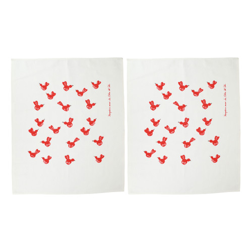"""Vietri Siciliano Linens Red Bird Dish Towels Set/2  SCI-2199RB 28""""L, 23""""W  Vietri's Siciliano Linens are made of 100% cotton in Sicily using a serigraphy (silk screening) technique. Imperfections are to be expected and appreciated as they emphasize the artistic creation and dedication to making each piece unique due to the handcrafted process.  Machine wash cold, lay flat to dry. Warm iron if desired. Do not dry clean."""