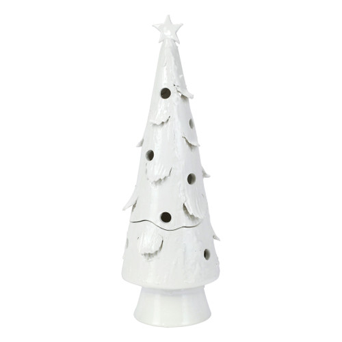 """Vietri Foresta Bianca Large Tree with Star  FRB-2608 20""""H  Illustrated with quality craftsmanship and attention to detail, maestro artisan Stefano Roselli recreates the Italian winter in Foresta Bianca from plumpuddingkitchen.com.  Inspired by the serene view of the snow capped ancient pines overlooking it Lago di Como, Stefano has handcrafted unique pieces to be paired together replicating the breathtaking view of the Italian Alps.  Handcrafted of terra bianca in Tuscany. Battery powered tealights are recommended inside pieces with holes.  Wipe with damp cloth to clean."""