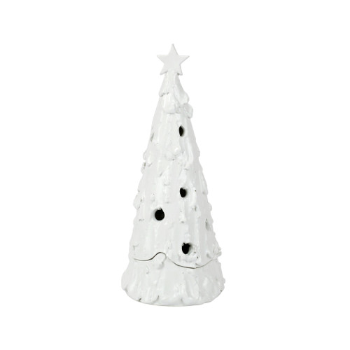 """Vietri Foresta Bianca Medium Flocked Tree with Star  FRB-2606 16""""H  Illustrated with quality craftsmanship and attention to detail, maestro artisan Stefano Roselli recreates the Italian winter in Foresta Bianca from plumpuddingkitchen.com.  Inspired by the serene view of the snow capped ancient pines overlooking it Lago di Como, Stefano has handcrafted unique pieces to be paired together replicating the breathtaking view of the Italian Alps.  Handcrafted of terra bianca in Tuscany. Battery powered tealights are recommended inside pieces with holes.  Wipe with damp cloth to clean."""