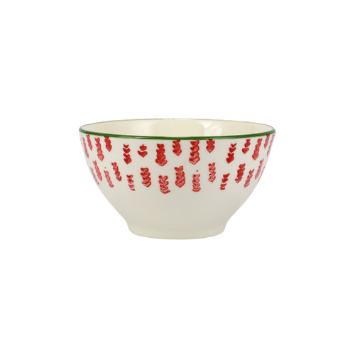 """Vietri Viva Mistletoe Arrow Cereal Bowl  VMIL-003005C 6""""D, 3.5""""H  Festive and playful, Mistletoe from plumpuddingkitchen.com is intended for the everyday entertainer, especially during the hustle and bustle of the holiday season.  Whether you are the hostess with the mostess, the go-to gifter, or the must-have attendee, this festive collection is perfect for all things holiday.  Handpainted on hard ceramic in Portugal. Dishwasher and microwave safe."""