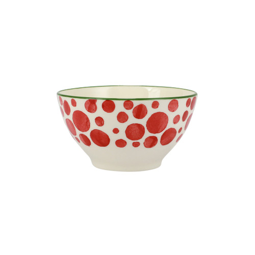 """Vietri Viva Mistletoe Bubble Cereal Bowl  VMIL-003005B 6""""D, 3.5""""H  Festive and playful, Mistletoe from plumpuddingkitchen.com is intended for the everyday entertainer, especially during the hustle and bustle of the holiday season.  Whether you are the hostess with the mostess, the go-to gifter, or the must-have attendee, this festive collection is perfect for all things holiday.  Handpainted on hard ceramic in Portugal. Dishwasher and microwave safe."""