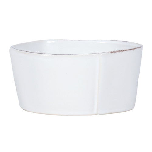 "The Lastra White Medium Serving Bowl is an ample shape with rustic, sculptural edges. An overlapping wooden mold, used for centuries to form cheeses throughout Italy, inspired this collection. 8.5""D, 3.5""H LAS-2631W"