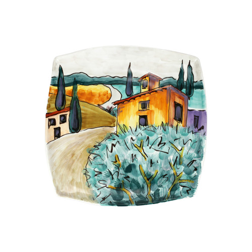 """Vietri Village Square Platter Wall Plate  WAL-7834 12.25"""" Square  Capture the beauty and vitality of Italy with Vietri's vibrant, rich colors and classic designs, featured on these handpainted works of art from plumpuddingkitchen.com.   Handpainted on terra bianca in Tuscany. Dishwasher safe."""