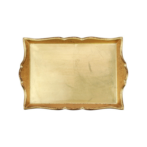 """Vietri Florentine Wooden Gold Handled Small Rectangular Tray  FWD-6219 15.25""""L, 10.5""""W  Florentine Wooden Accessories from plumpuddingkitchen.com, inspired by the artistry of the Renaissance, blend ancient techniques with modern interpretation resulting in classic shapes and soft curves.  Maestro artisans handcarve each piece before applying a beautiful gold leaf.  Wipe with damp cloth to clean."""