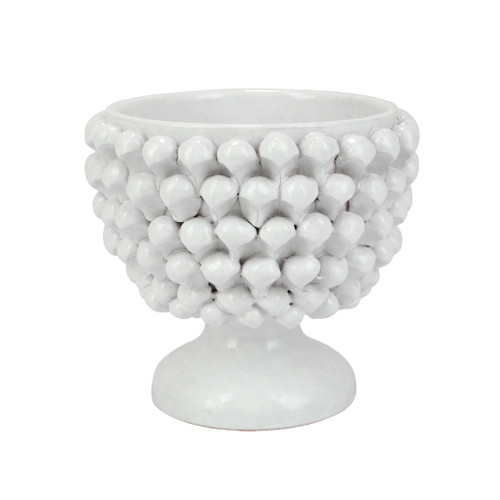 """Vietri Pinecone Small Planter  PCN-9101 9.5"""" D, 9""""H  Pinecone,la pigna, is an ancient symbol signifying abundance and harmony, and is often used to welcome a new baby, celebrate newlyweds, or as a housewarming gift.  The Sicilian tradition is felt so deeply that the ceramic pinecone is present in almost all homes: on the pillars at an entrance, on the balconies, or inside the rooms signifying a good omen.  Handpainted for plumpuddingkitchen.com on terra cotta in Sicily.  Wipe with damp cloth to clean."""