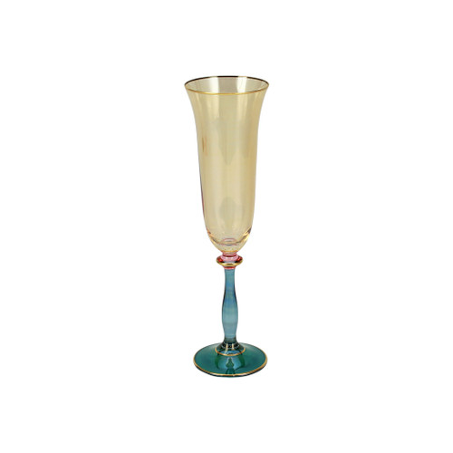 """Vietri Regalia Deco Green Champagne Glass  RDE-7650G 9.5""""H, 6 oz  Regalia Deco from plumpuddingkitchen.com, characterized by layered hues and gold accents, effortlessly complements the ornate 14-karat gold emblems of Regalia.  Designed in Italy. Handwash."""