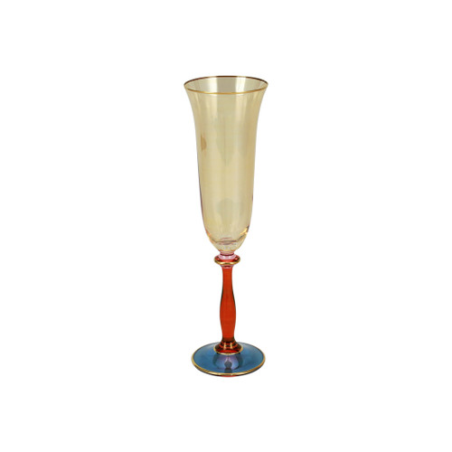 """Vietri Regalia Deco Blue Champagne Glass  RDE-7650B 9.5""""H, 6 oz  Regalia Deco from plumpuddingkitchen.com, characterized by layered hues and gold accents, effortlessly complements the ornate 14-karat gold emblems of Regalia.  Designed in Italy. Handwash."""