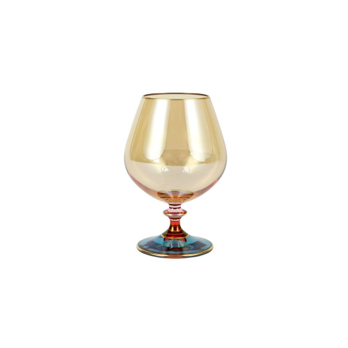 """Vietri Regalia Deco Blue Brandy Snifter  RDE-7615B 9.5""""H, 6 oz  Regalia Deco from plumpuddingkitchen.com, characterized by layered hues and gold accents, effortlessly complements the ornate 14-karat gold emblems of Regalia.  Designed in Italy. Handwash."""