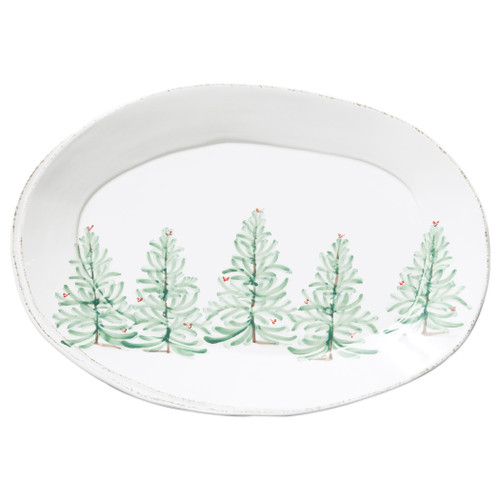 """Vietri Melamine Lastra Holiday Oval Platter  MLAH-2326 18""""L, 12.5""""W  Lastra Holiday's unique silhouettes and cheerful design take a new form in Melamine Lastra Holiday.  Delight in the magic of the holiday season as handpainted fir trees and red birds drift across the fresh white canvas of each piece from plumpuddingkitchen.com. Lightweight yet sturdy with a gloss finish, this collection is ideal for outdoor use or meals with children.  BPA free and made of 100% melamine in Philippines. Dishwasher safe - not microwave safe."""