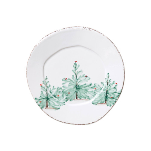"""Vietri Melamine Lastra Holiday Salad Plate  MLAH-2301 8.75""""D  Lastra Holiday's unique silhouettes and cheerful design take a new form in Melamine Lastra Holiday.  Delight in the magic of the holiday season as handpainted fir trees and red birds drift across the fresh white canvas of each piece from plumpuddingkitchen.com. Lightweight yet sturdy with a gloss finish, this collection is ideal for outdoor use or meals with children.  BPA free and made of 100% melamine in Philippines. Dishwasher safe - not microwave safe."""