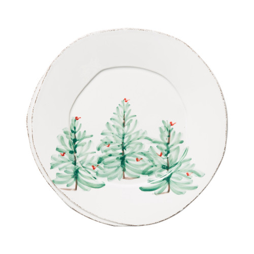 """Vietri Melamine Lastra Holiday Dinner Plate  MLAH-2300 11""""D  Lastra Holiday's unique silhouettes and cheerful design take a new form in Melamine Lastra Holiday.  Delight in the magic of the holiday season as handpainted fir trees and red birds drift across the fresh white canvas of each piece from plumpuddingkitchen.com. Lightweight yet sturdy with a gloss finish, this collection is ideal for outdoor use or meals with children.  BPA free and made of 100% melamine in Philippines. Dishwasher safe - not microwave safe."""