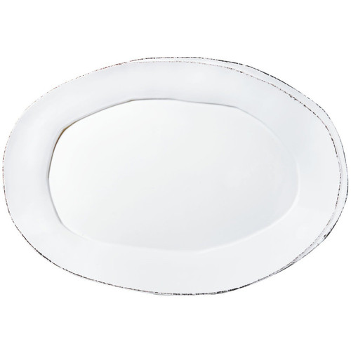 "The Lastra White Oval Platter brings rustic chic to your table. An overlapping wooden mold, used for centuries to form cheeses throughout Italy, inspired this collection. 18.5""L, 12.5""W LAS-2626W"
