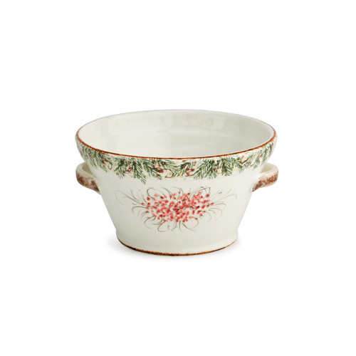 """Arte Italica Natale Small Handled Bowl  NAT6815  Natale is the perfect collection to entertain through the winter season. Berries and pine boughs surround the snowy evergreens. Our Natale Handled Bowl has lovely handmade handles and makes the perfect centerpiece or serving bowl for all you winter and holiday entertaining. Hand made in Italy. Hand washing is recommended.  10"""" D x 5"""" H 16.5"""" H"""