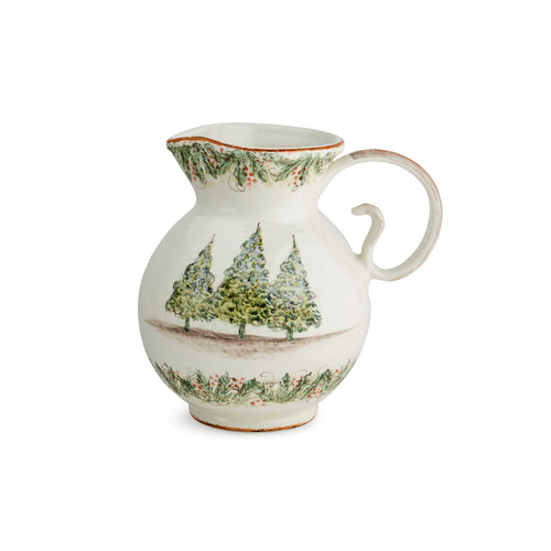 """Arte Italica Natale Large Pitcher  NAT6820L  Our Natale Home Decor pieces are a beautiful addition to your holiday decorating. The large pitcher will make a statement during the holiday season. Hand made in Italy. Hand wash.  10.5"""" L x 8"""" W x 12.5"""" H"""