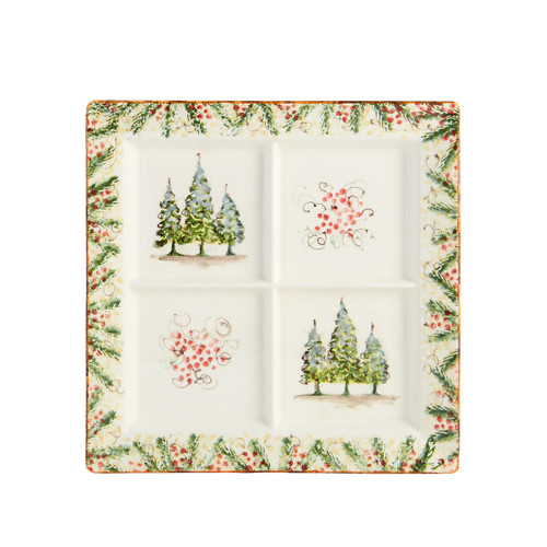 """Arte Italica Natale Square Divided Platter  NAT6824  Natale is the perfect collection to entertain through the winter season. Berries and pine boughs surround the snowy evergreens. Our Natale Divided Platter is perfect for serving holiday favorites. Hand made in Italy.  Microwaveable (may get hot) and dishwasher safe on the low heat, air-dry setting.  13"""" Sq"""