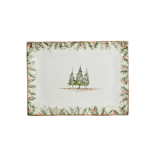 """Arte Italica Natalie Medium Rectangular Tray  NAT6825L  Natale is the perfect collection to entertain through the winter season. Berries and pine boughs surround the snowy evergreens. Our Natale Medium Rectangular Tray is the perfect size for entertaining. Hand made in Italy. Microwaveable (may get hot) and dishwasher safe on the low heat, air-dry setting.  15"""" L x 11"""" W"""