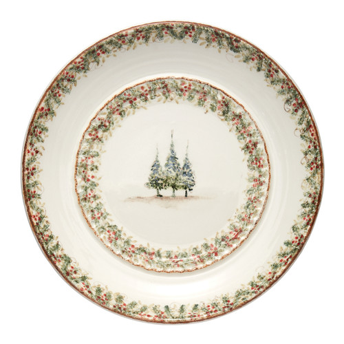 """Arte Italica Natale Large Round Platter  NAT6885  Our Natale Home Decor pieces are a beautiful addition to your holiday decorating. The large round platter is food safe and will make a statement for large holiday parties, or use to as wall decoration. Hand made in Italy.  Hand wash.  19"""" D"""