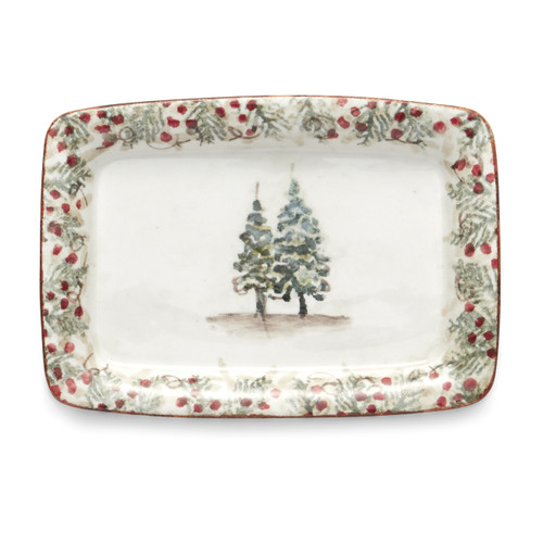 """Arte Italica Natale Small Tray  NAT6829  Natale is the perfect collection to entertain through the winter season. Berries and pine boughs surround the snowy evergreens. Our Natale Small Tray is perfect for entertaining, use it to serve up holiday favorites. Hand made in Italy.  Microwaveable (may get hot) and dishwasher safe on the low heat, air-dry setting.  7.5"""" L X 5.25"""" W"""