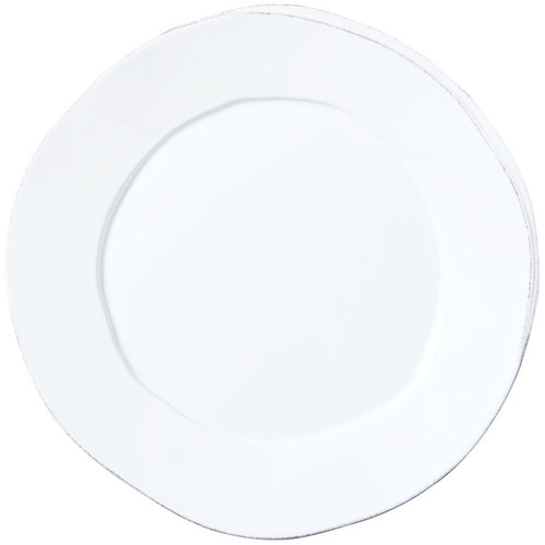 """The Lastra White Round Platter is an elegant rustic serving piece. An overlapping wooden mold, used for centuries to form cheeses throughout Italy, inspired this collection. 14.25""""D LAS-2621W"""