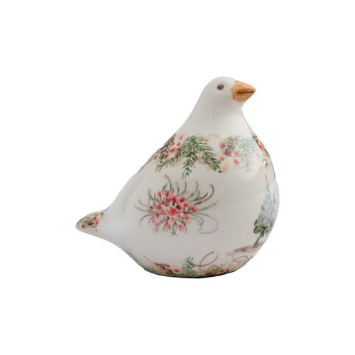 """Arte Italica Natale Small Dove  NAT6891  This sweet dove is the perfect piece to decorate your home for the holiday season! Italian ceramic, Hand made in Italy.  7"""" L x 4.5"""" W x 6.5"""" H"""