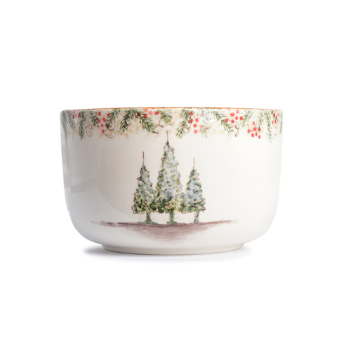 """Arte Italica Natale Deep Serving Bowl  NAT6818  Natale is the perfect collection to entertain through the winter season. Berries and pine boughs surround the snowy evergreens. Our Natale Deep Bowl is perfect for winter salads or chips for holiday dips! Hand made in Italy.  Microwaveable (may get hot) and dishwasher safe on the low heat, air-dry setting.  6""""H, 9.75""""W"""